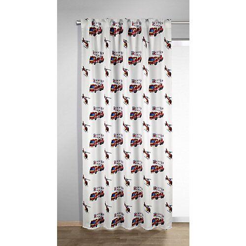 Vorhang Schal, DO, dd weiß/rot, 245 x 135 cm rot/weiß