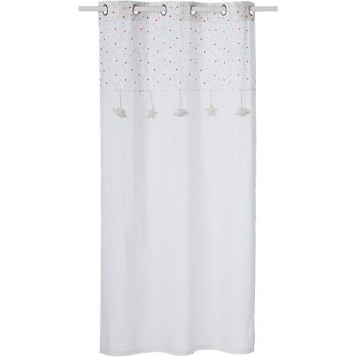 vertbaudet Vorhang mit Sternen, weiß/grau, 105 x 240 cm