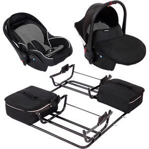Zekiwa 2 Babyschalen ATS Comfort Plus inkl. Adapter Zwillingswagen Sport DUO, schwarz/grau  Kinder