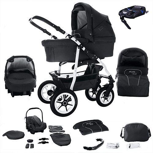 Bebebi Bellami   ISOFIX Basis & Autositz   4 in 1 Kombi Kinderwagen   Hartgummireifen Kombikinderwagen schwarz