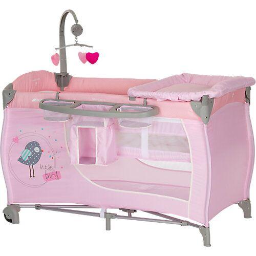 Hauck Reisebett Babycenter, birdie grey rosa