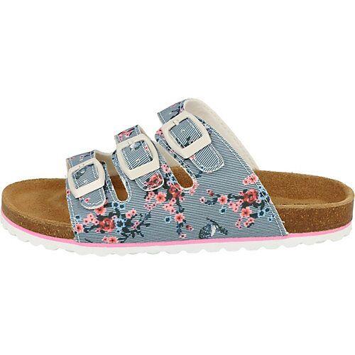 SUPERSOFT Mädchen Schuhe Hausschuhe Leder-Fußbett 474-409 Blue Blumen Clogs blau Mädchen Kinder