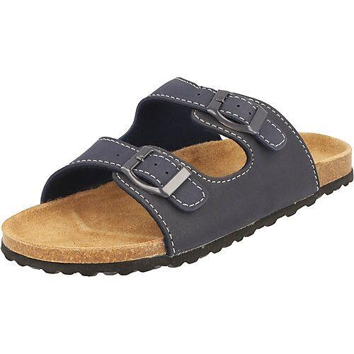 SUPERSOFT Kinder Sandalen Hausschuhe Leder-Fußbett 474-002 blau Clogs Jungen Kinder