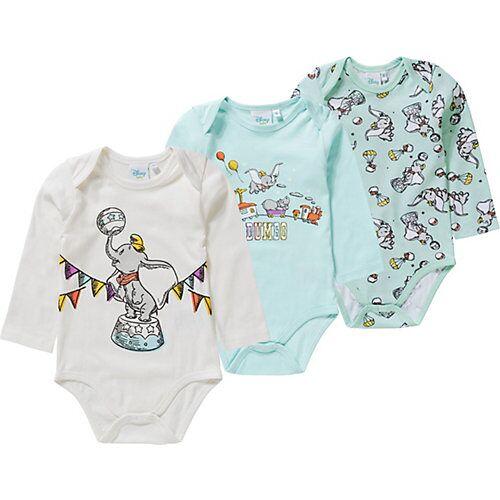 Disney Dumbo Baby Langarmbody 3er-Pack blau/grau