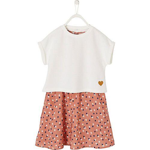 vertbaudet Set aus Langarmshirt + Kleid weiß Mädchen Kinder