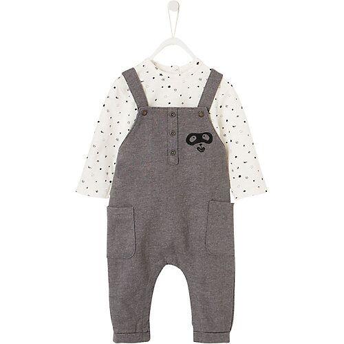 vertbaudet Baby Set Langarmshirt+ Latzhose  weiß/grau Jungen Baby