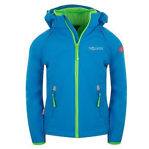 TROLLKIDS Softshell Jacke Zip Off Rondane Softshelljacken Kinder blau/grün  Kinder