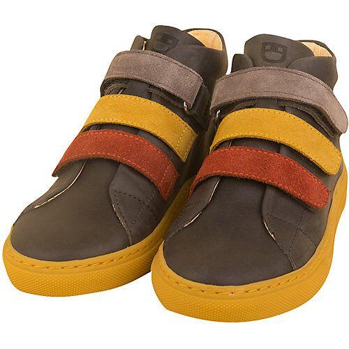 DULIS Bio Echtleder Velours Sneakers High grau/gelb