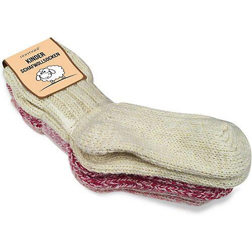 normani® 3 Paar Kinder Norwegersocken mit Schafwolle Socken rot-kombi