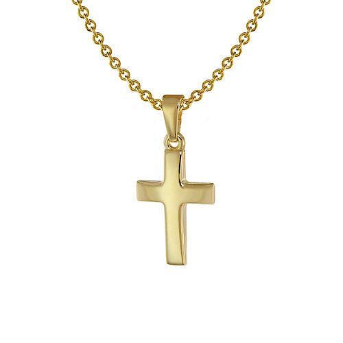 trendor Kreuz Anhänger Kinder Gold 333 + Halskette Silber vergoldet Halsketten  Kinder