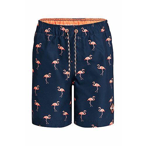 WE Fashion Jungen-Badehose mit Flamingo-Muster Shorts  blau Jungen Kinder