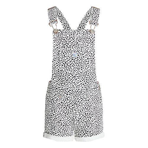WE Fashion Mädchen-Skinny-Fit-Latzhose mit Muster Latzshorts MiniW weiß
