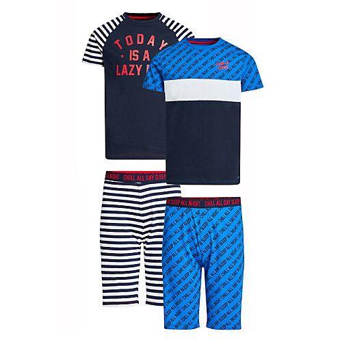 WE Fashion Jungen-Schlafanzug-Set mit Muster, 2er-Pack Schlafanzüge MiniM blau Jungen Kinder