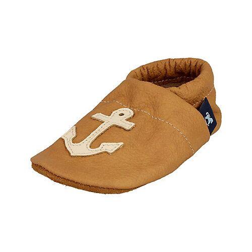 Pantau® Lederpuschen / Hausschuhe / Slipper mit Anker Hausschuhe camel