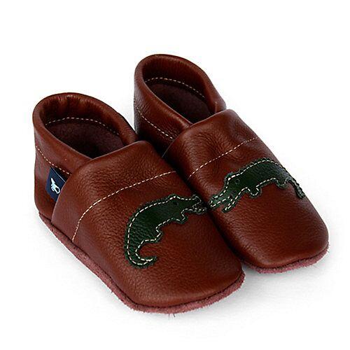 Pantau® Lederpuschen / Hausschuhe / Slipper mit Krokodil Hausschuhe braun/grün