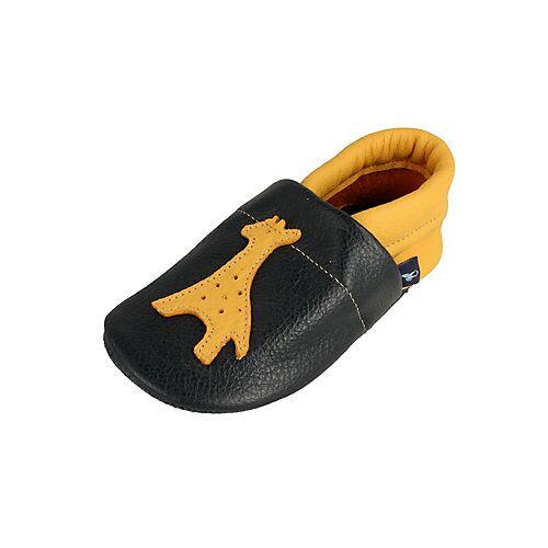 Pantau® Lederpuschen / Hausschuhe / Slipper mit Giraffe Hausschuhe blau/gelb
