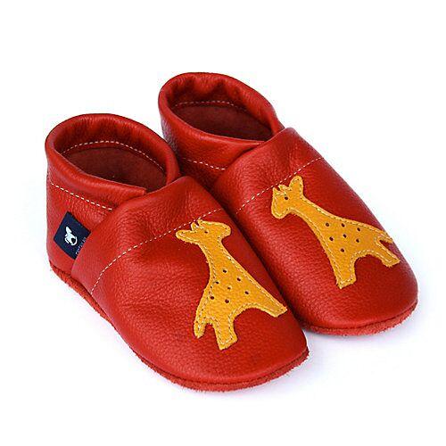 Pantau® Lederpuschen / Hausschuhe / Slipper mit Giraffe Hausschuhe rot