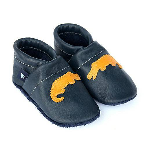 Pantau® Lederpuschen / Hausschuhe / Slipper mit Krokodil Hausschuhe blau/gelb