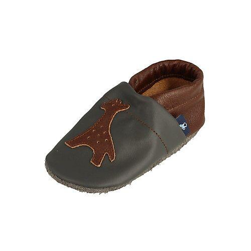 Pantau® Lederpuschen / Hausschuhe / Slipper mit Giraffe Hausschuhe braun/grau