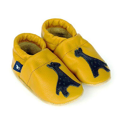 Pantau® Lederpuschen / Hausschuhe / Slipper mit Giraffe Hausschuhe gelb