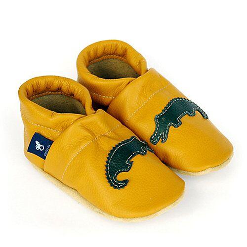 Pantau® Lederpuschen / Hausschuhe / Slipper mit Krokodil Hausschuhe gelb/grün