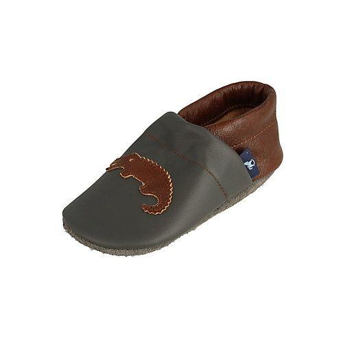 Pantau® Lederpuschen / Hausschuhe / Slipper mit Krokodil Hausschuhe braun/grau