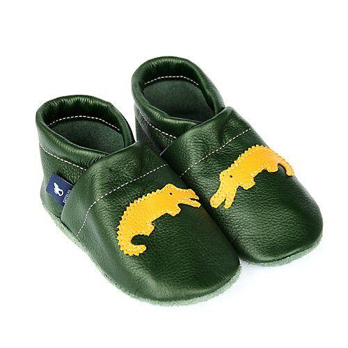 Pantau® Lederpuschen / Hausschuhe / Slipper mit Krokodil Hausschuhe grün/gelb
