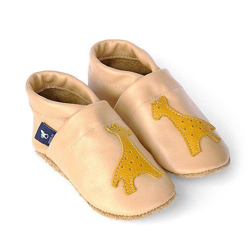Pantau® Lederpuschen / Hausschuhe / Slipper mit Giraffe Hausschuhe apricot