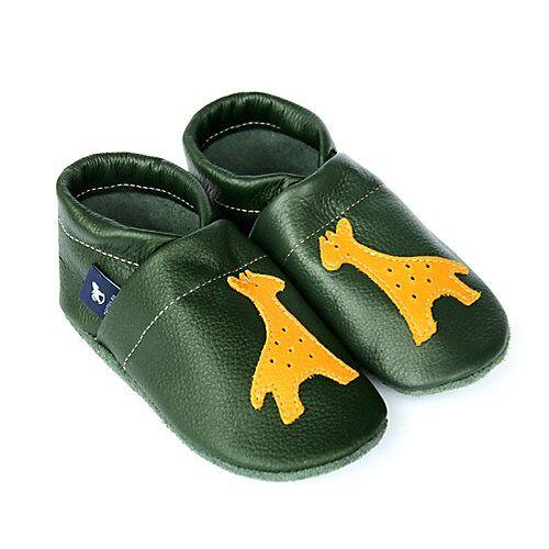 Pantau® Lederpuschen / Hausschuhe / Slipper mit Giraffe Hausschuhe grün/gelb