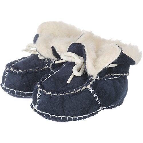 Playshoes Baby Krabbelschuhe in Lammfell-Optik dunkelblau Jungen Baby