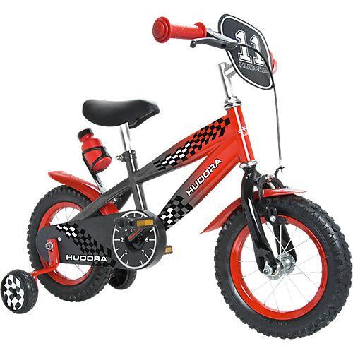HUDORA Kinderfahrrad12 Zoll grau / rot mit Stützrädern