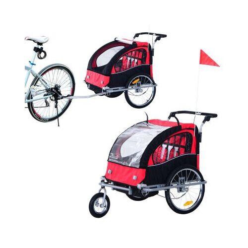 HOMCOM Kinderanhänger 2 in 1 – Fahrradanhänger und Jogger schwarz/rot
