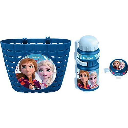 Disney Die Eiskönigin Fahrradkorb Frozen Die Eiskönigin 2, inkl. Trinkflasche und Klingel blau