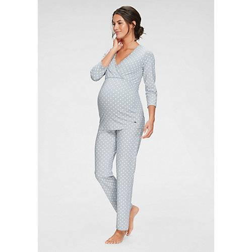 LASCANA Umstandspyjama Umstandsschlafanzüge grau Damen Kinder