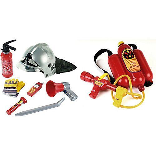 Klein Feuerwehr Set, 7-tlg. + Feuerwehrspritze Jungen Kinder