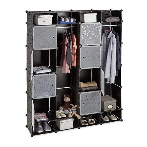 relaxdays Kleiderschrank Stecksystem 20 Fächer schwarz