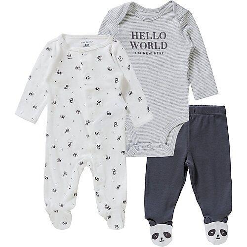 carter`s Baby Set Schlafanzug + Body + Stramplerhose weiß
