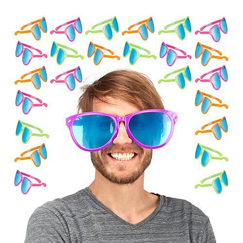 relaxdays 24x Partybrille groß Riesenbrille Hippiebrille Spaßbrille Gagbrille Scherzbrille bunt