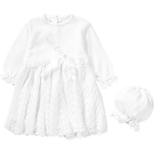 HOBEA-Germany Baby Set aus Taufkleid + Mütze JOHANNA weiß Mädchen Baby