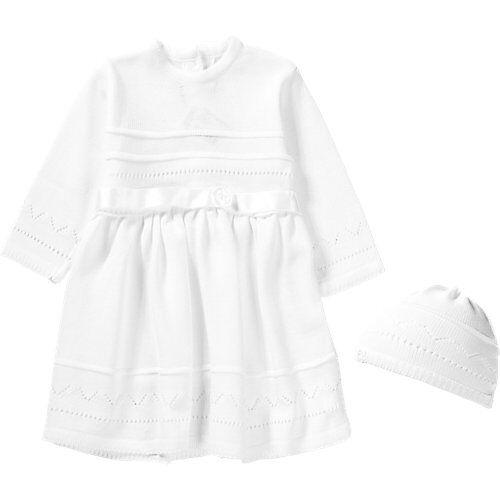 HOBEA-Germany Baby Set aus Taufkleid +Mütze LENA weiß Mädchen Baby