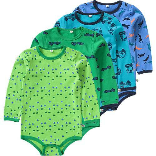 Pippi Langarmbodys 4er Pack  grün/blau Jungen Baby