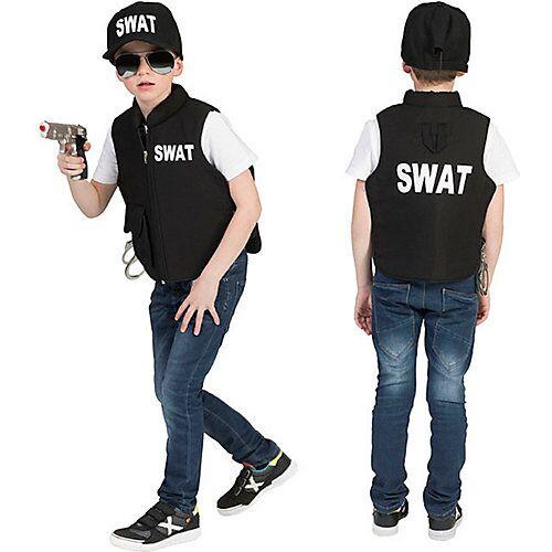 Funny Fashion Kostüm SWAT Weste schwarz Jungen Kinder