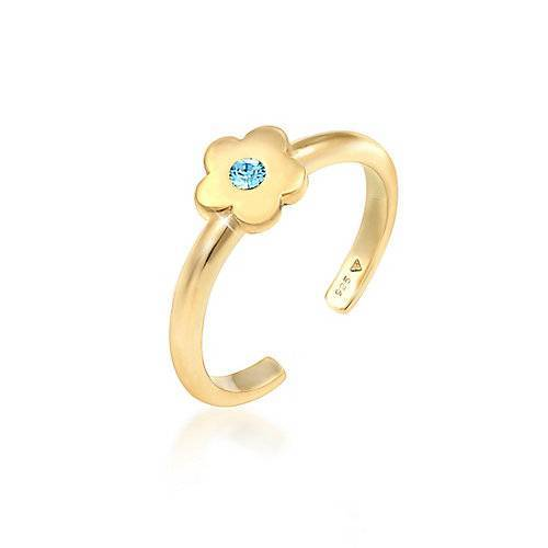 Elli Ring Kinder Blume Kristall 925Er Silber Ringe gold Mädchen Kinder