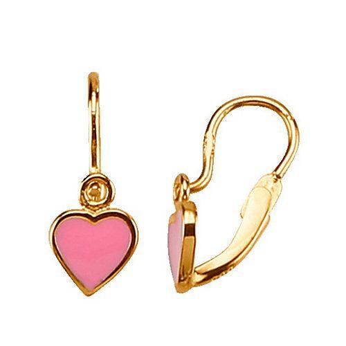 KLiNGEL Ohrringe mit Lackeinlage Brisur Ohrhänger Kinder rosa  Kinder