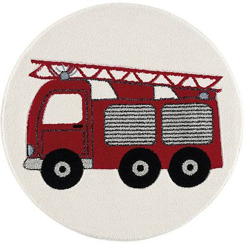 Happy Rugs Kinderteppich Feuerwehrauto rot, 100 cm rund rot-kombi