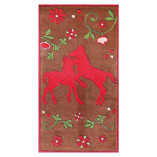 Pferdefreunde Kinderteppich Pferdefreunde Hoch braun