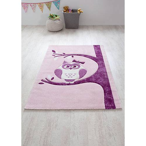 Relita Kinderteppich Eule, rosa,  170 x 120 cm