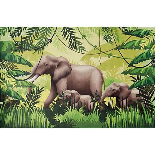BC kids Kinderteppich Elefanten Familie, 110 x 170 cm grün/anthrazit