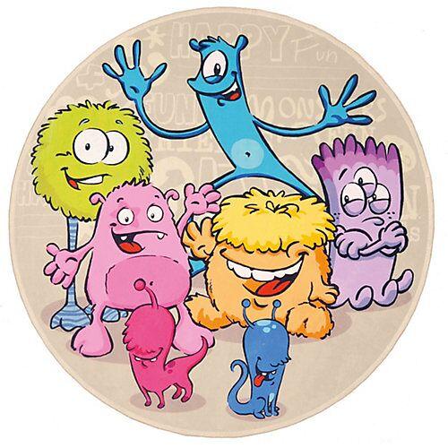 Lovely Kids Kinderteppich Lovely Kids, Lustige Aliens, rund, 100 cm