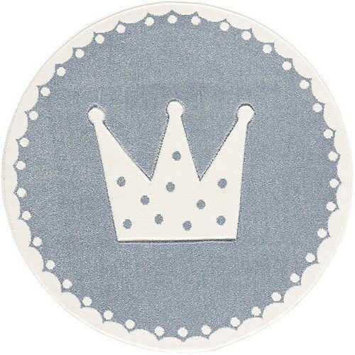 Happy Rugs Kinderteppich, CROWN blau/weiss, 133 cm rund